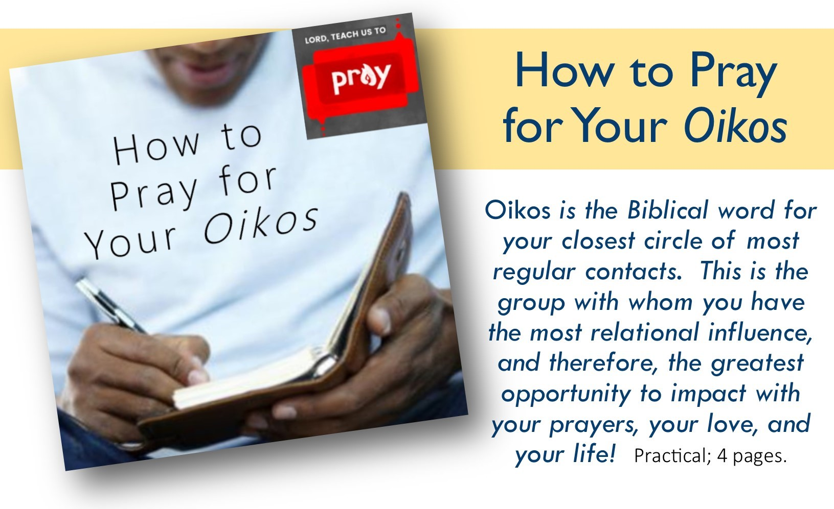 How to Pray for Your Oikos button